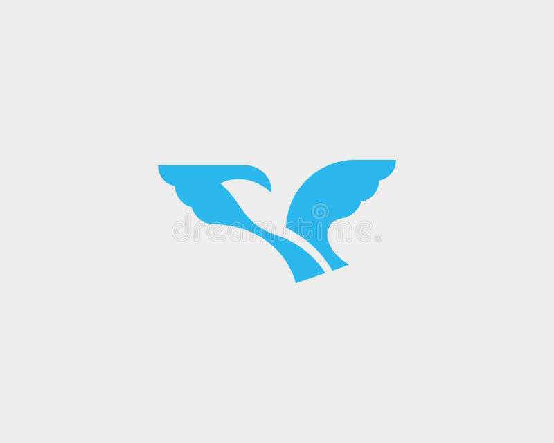 Logotype negativo dello spazio dell'uccello astratto Progettazione di simbolo di logo di vettore della colomba di libertà illustrazione di stock