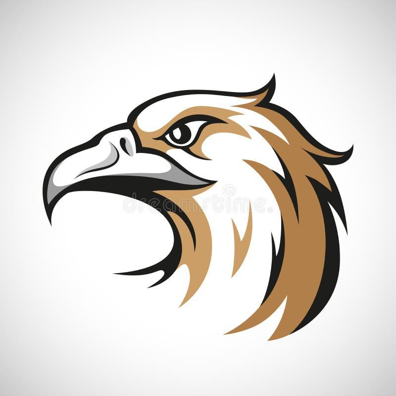 Logotype noir, gris et brun de tête d'aigle sur le blanc illustration stock