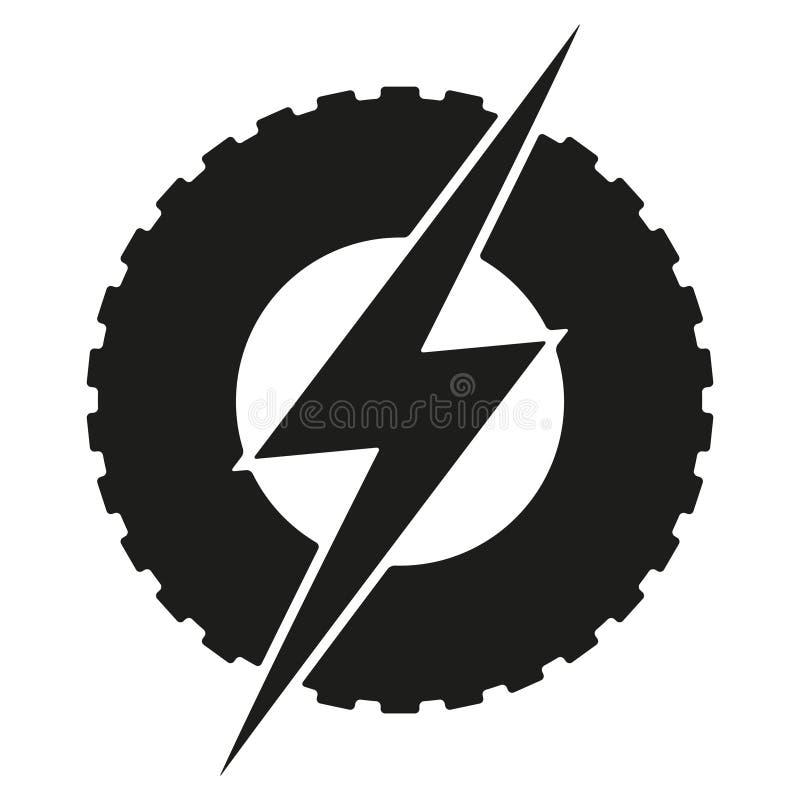 Logotype om wiel met bliksem Elektrische Eco royalty-vrije illustratie