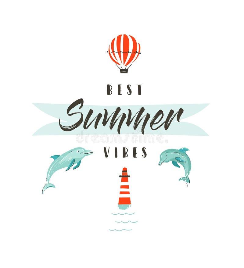 Logotype ou sinal Handdrawn da ilustração do divertimento das horas de verão do sumário do vetor com golfinhos, balão de ar quent ilustração do vetor