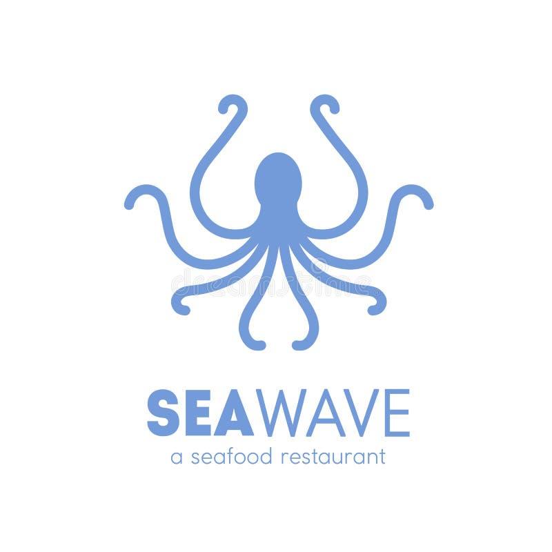 Logotype para o restaurante do marisco com a silhueta do polvo isolada no fundo branco Logotipo com animal marinho, molusco ilustração stock