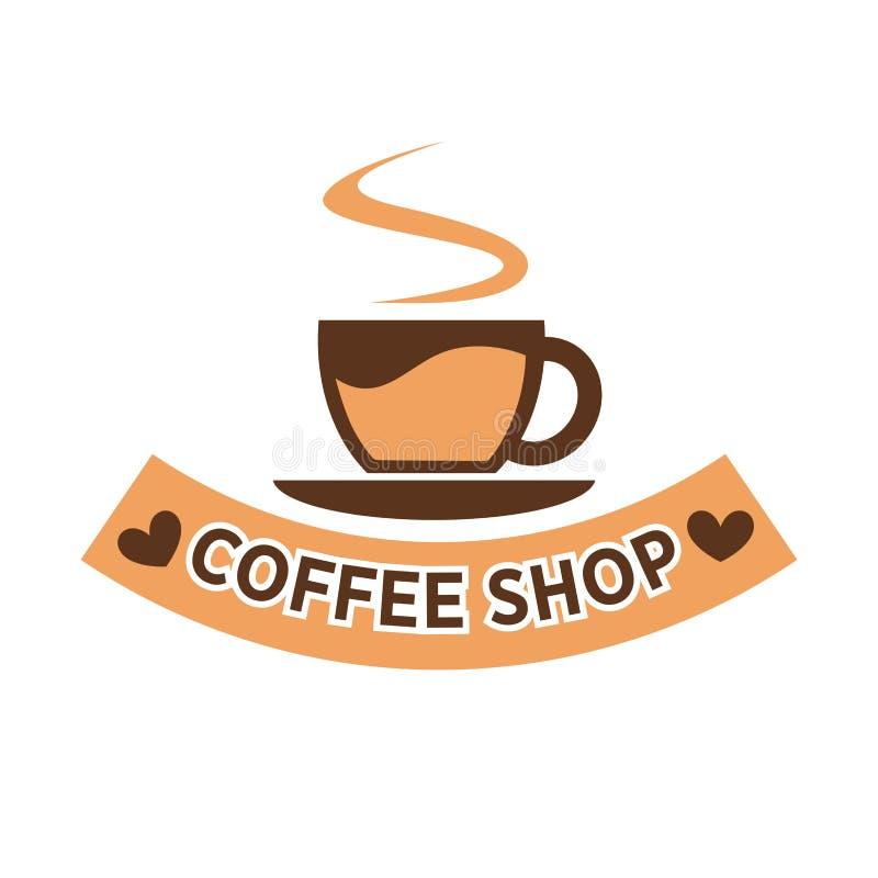 Logotype piano variopinto della caffetteria isolato su bianco illustrazione vettoriale
