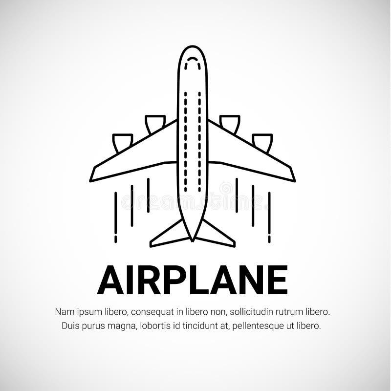 Logotype plano do avião de passageiros do avião isolado no fundo branco Linha estilo da arte ilustração stock