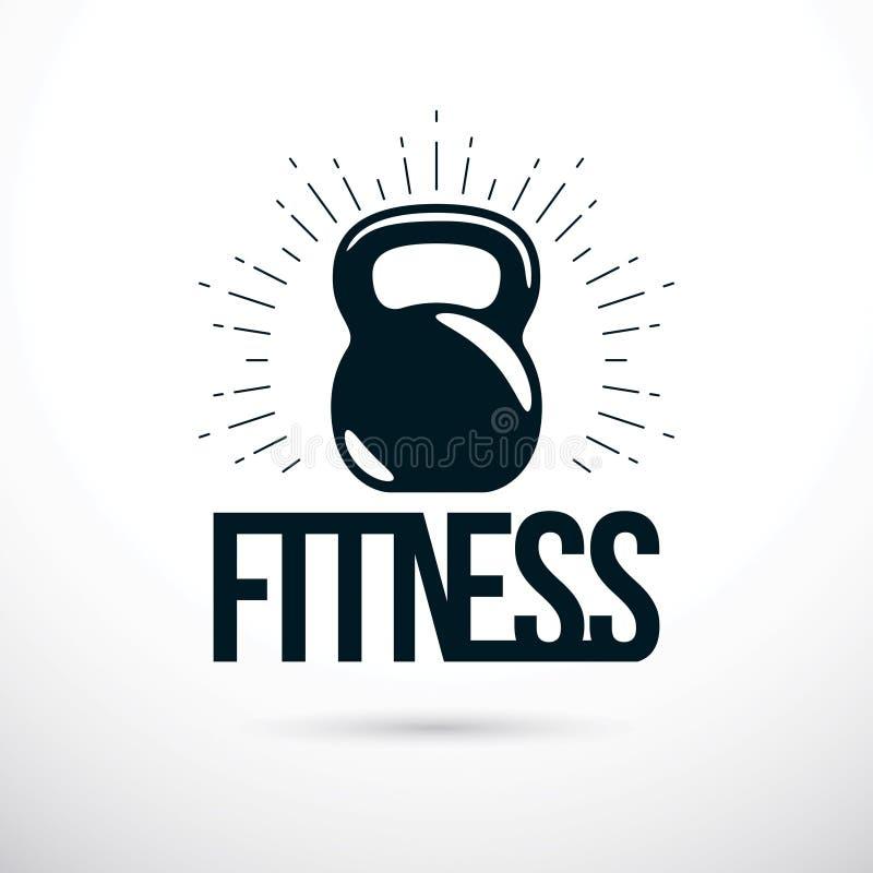Logotype pour le gymnase lourd de sport de gymnase ou de forme physique, vecteur illustration stock