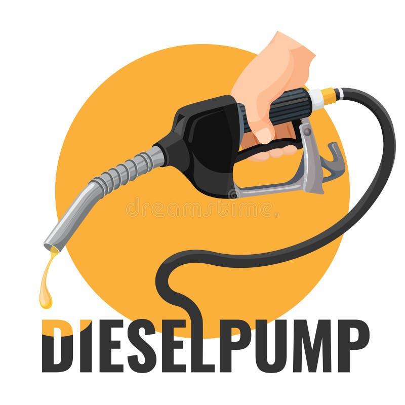 Logotype relativo à promoção da bomba diesel com bocal de combustível e círculo amarelo ilustração do vetor