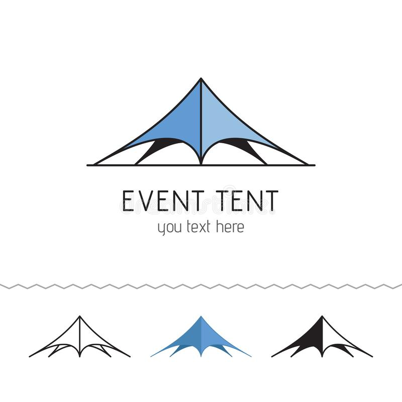 Logotype for rent tents agency. Event tent. Folding tent, wedding tent. Vector illustration. stock illustration