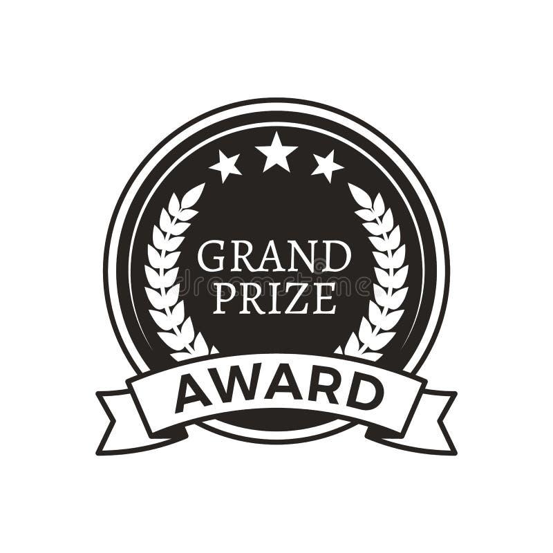 Logotype rotondo monocromatico di promo del grande premio premiato illustrazione vettoriale