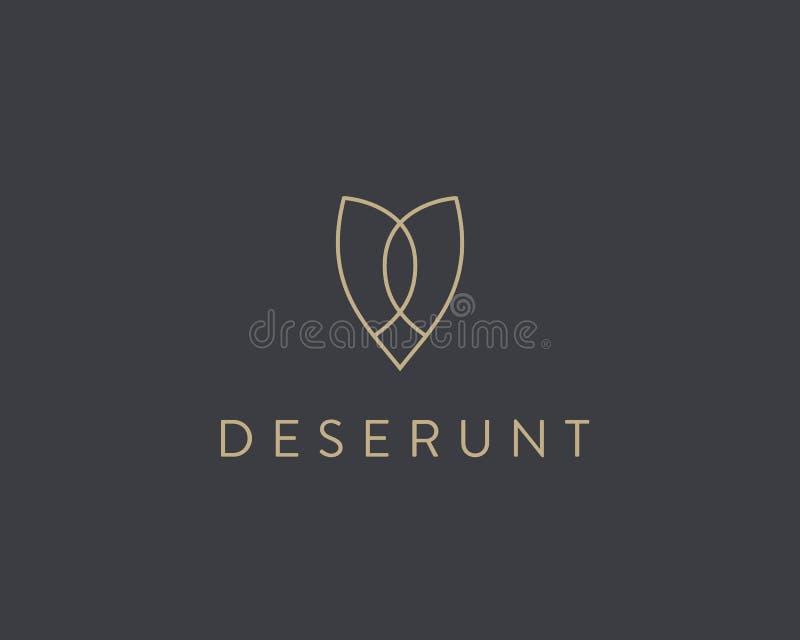 Logotype semplice di vettore del fiore di farfalla Linea progettazione premio minimalistic di logo dell'icona illustrazione di stock