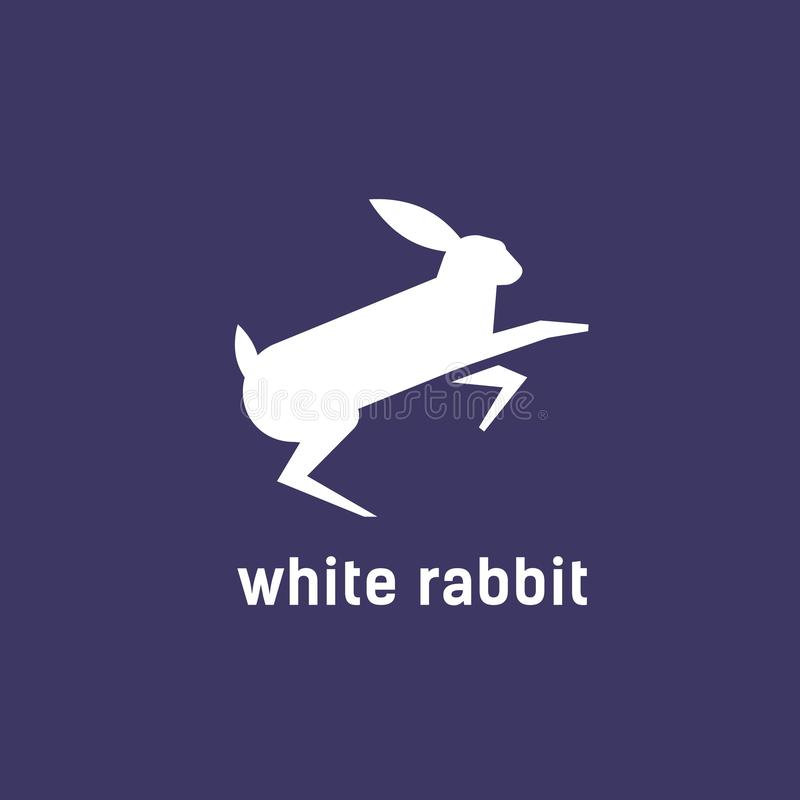 Logotype with silhouette of jumping rabbit, bunny or hare. Logo with domestic animal. Decorative design element isolated vector illustration