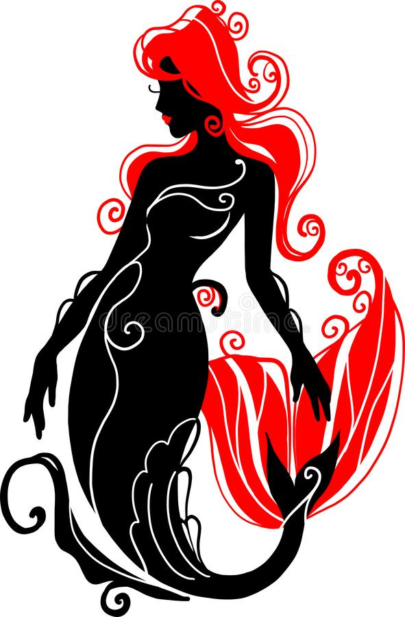 Logotype Silhouette mermaid sitting on the waves. Isolated figure of girl from fairytale. stock photos