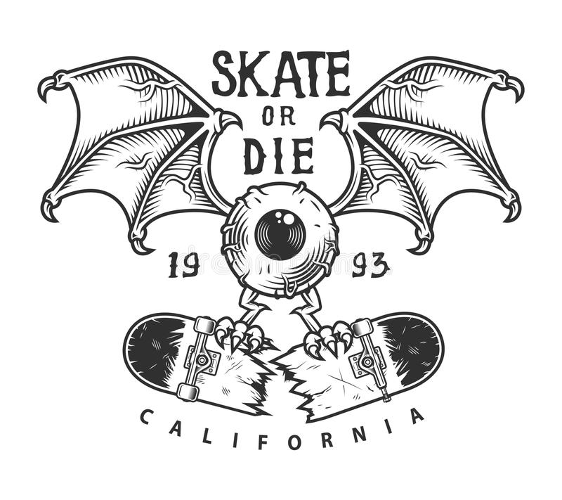 Logotype skateboarding do vintage ilustração do vetor