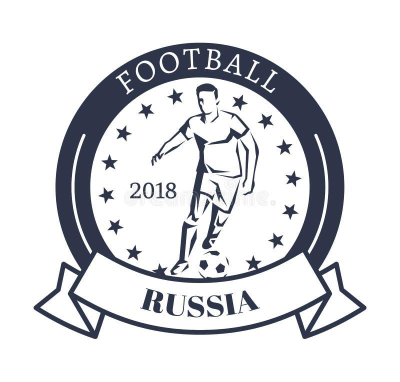 Logotype sportivo della Russia 2018 di calcio con l'estrattore a scatto illustrazione di stock