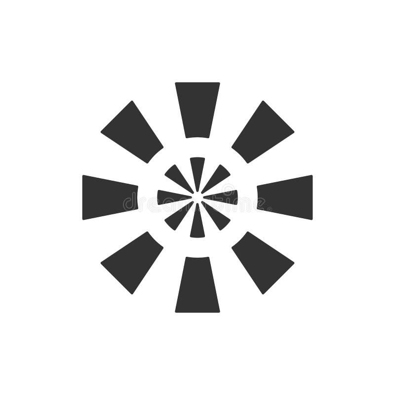 Logotype stilizzato del sole Icona del sole, fiore Logo nero isolato su fondo bianco royalty illustrazione gratis