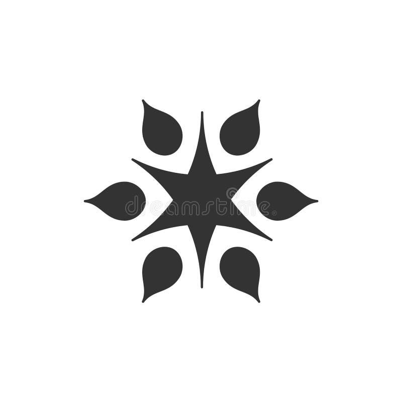 Logotype stilizzato del sole Icona del sole, stella, fiore Logo nero isolato su fondo bianco illustrazione vettoriale