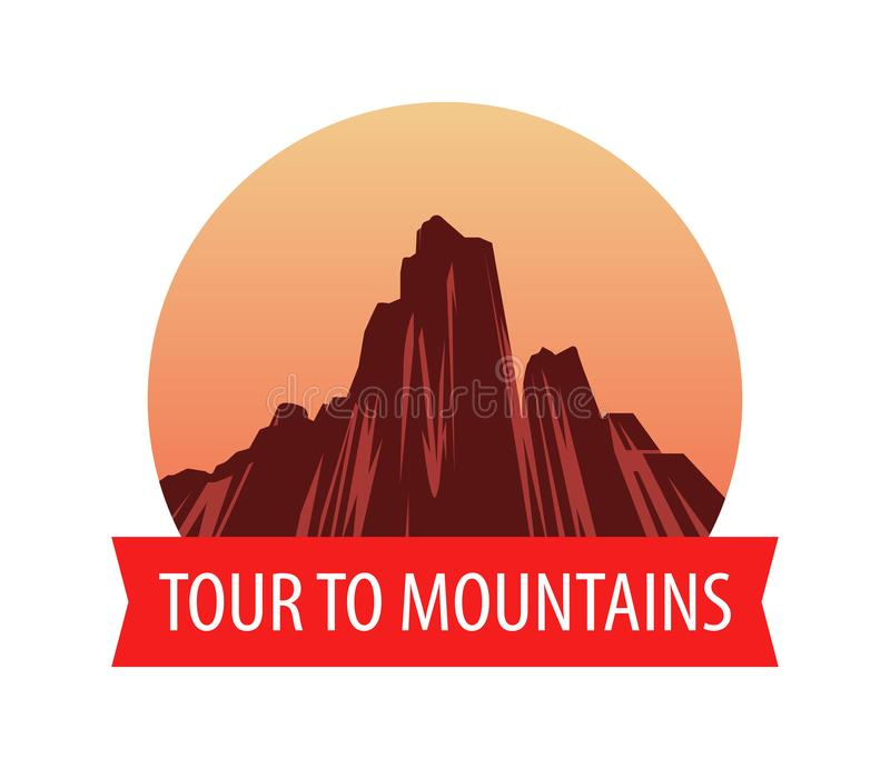 Logotype template with Mountains at sunset, Vector landscape illustration stock illustration