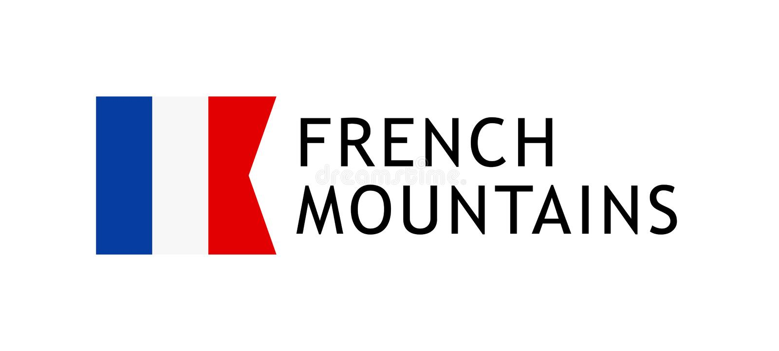 Logotype template for tours to French Alpine Mountains, Vector lovable intelligible illustration with flag of France. Logotype template for tours to French royalty free illustration