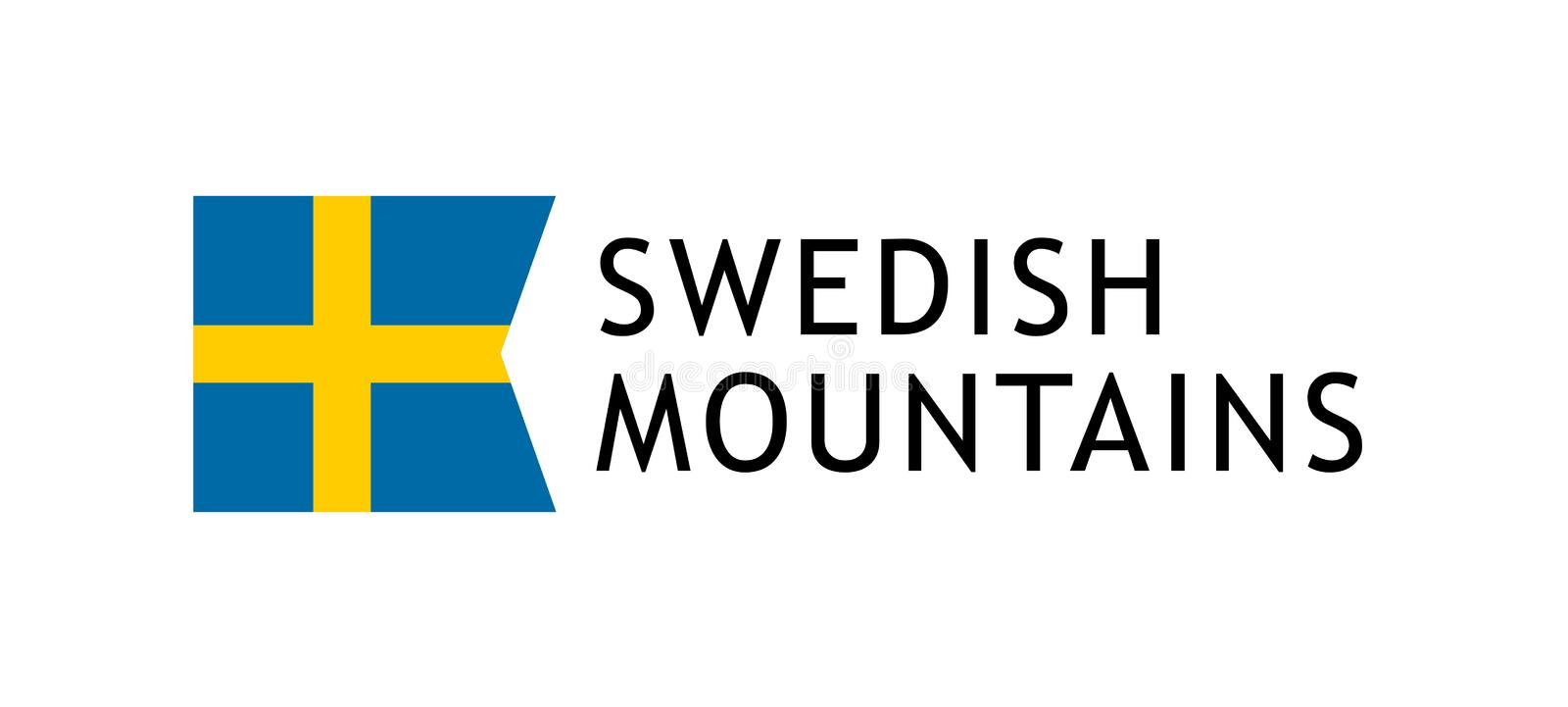 Logotype template for tours to Swedish Mountains, Vector lovable intelligible illustration with national flag of Sweden. Isolated on white background. Design stock illustration