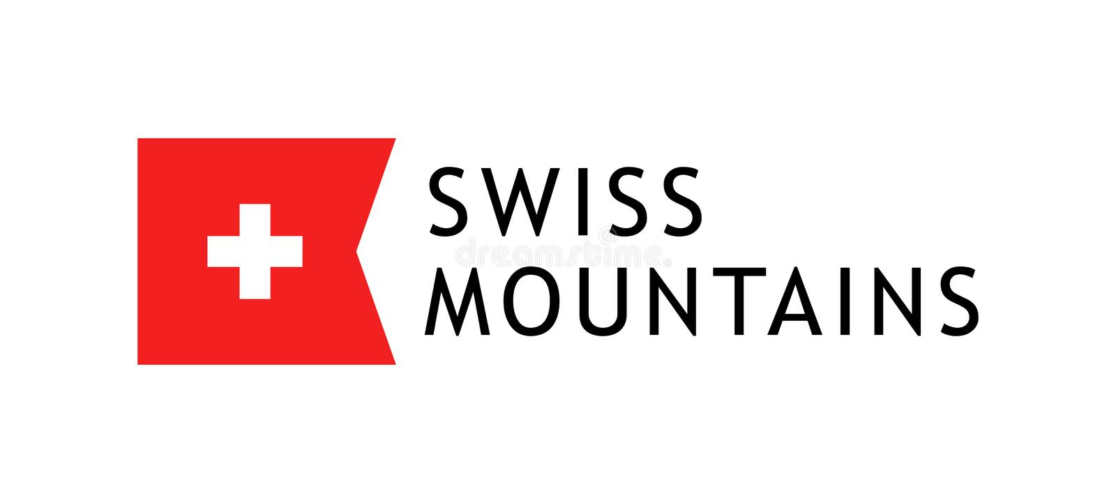 Logotype template for tours to swiss mountains, Vector lovable illustration with national flag of Switzerland. Logotype template for tours to swiss mountains vector illustration