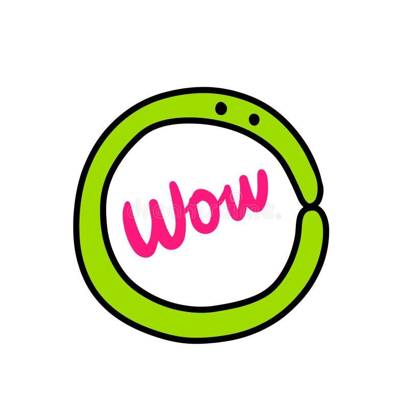 Logotype tiré par la main de wow avec le monstre et le lettrage verts illustration de vecteur