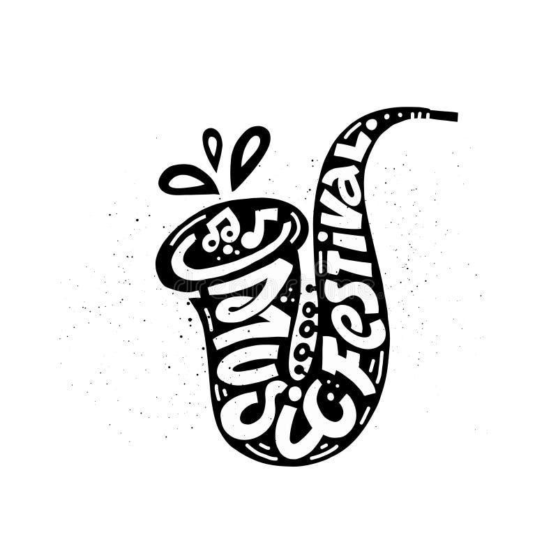 Logotype van de bevordering van het muziekfestival vector illustratie