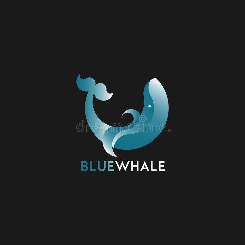 Logotype in vector with whale element royalty free illustration