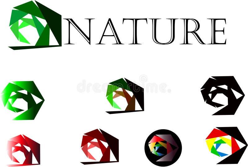 Logotype verde da ecologia, vetor do projeto do símbolo do logotipo do sumário da planta da natureza da grama das folhas do círcu ilustração royalty free