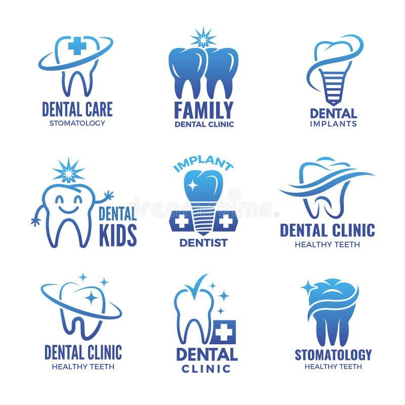 Logotyper med illustrationer av tänder och stället för din text stock illustrationer