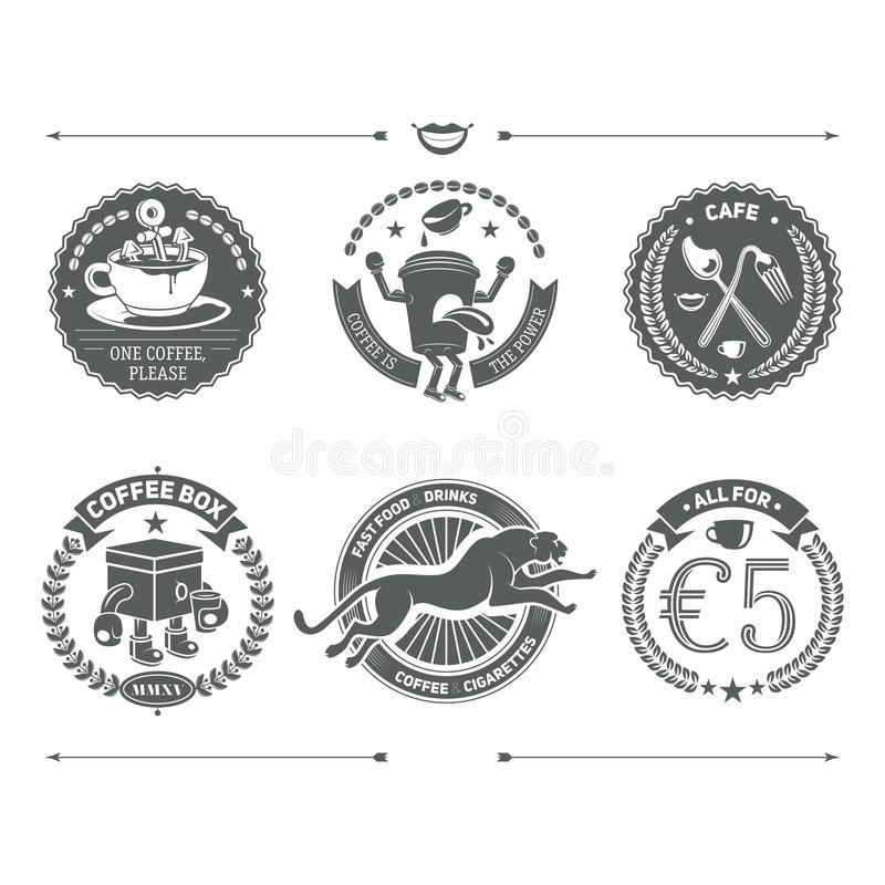 Logotypes ajustados e insígnias retros do vintage Elemento do projeto do vetor ilustração do vetor