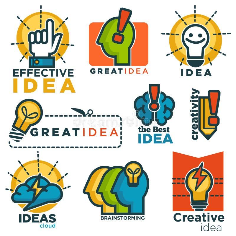 Logotypes colorés promotionnels de grande idée créative efficace réglés illustration stock