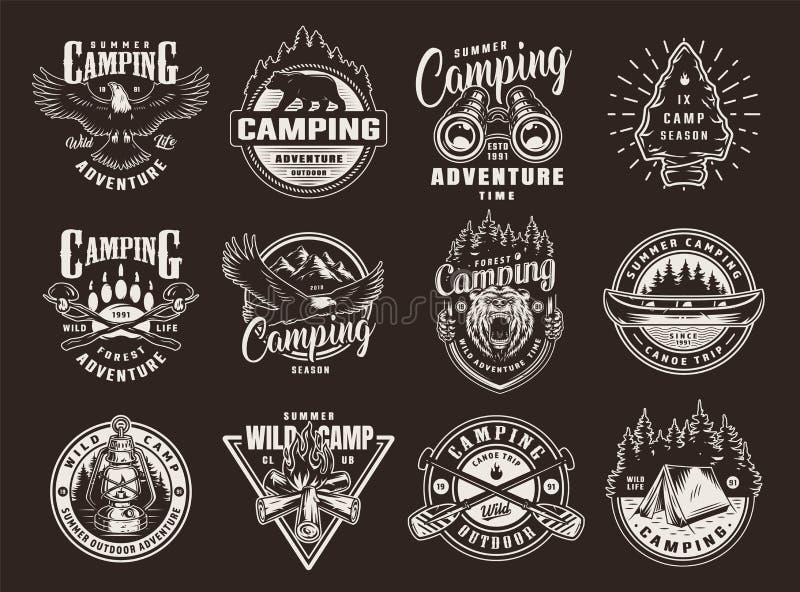 Logotypes da recreação do verão do vintage ilustração stock