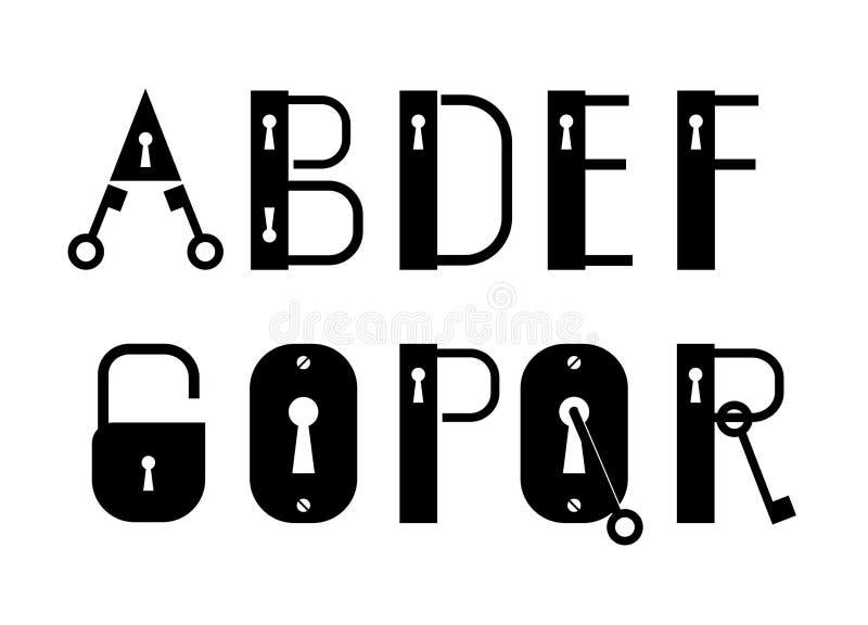Logotypes de clé et de serrure d'ABC ou police décorative image stock