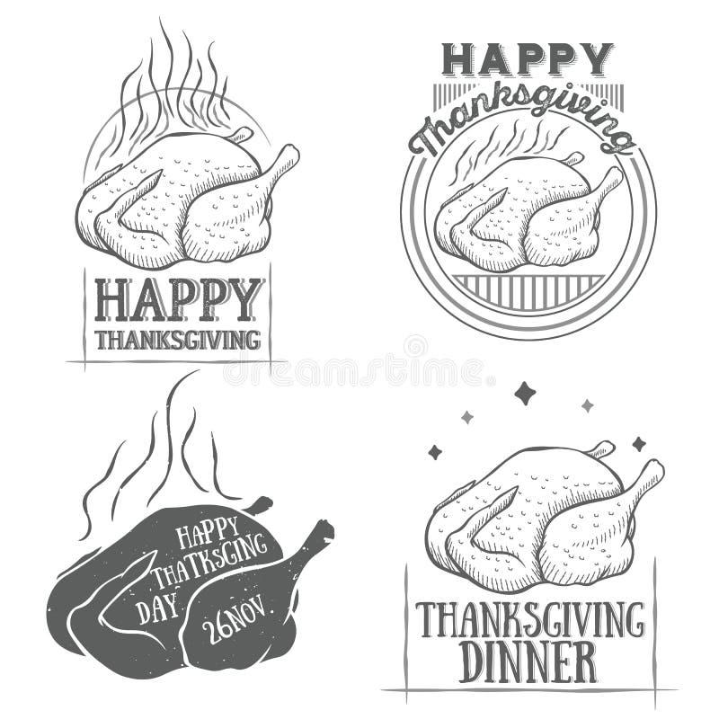 Logotypes de vintage de thanksgiving de vecteur réglés illustration stock