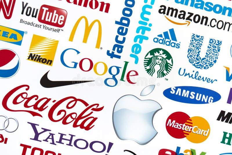 Logotypes di marca del mondo fotografia stock libera da diritti