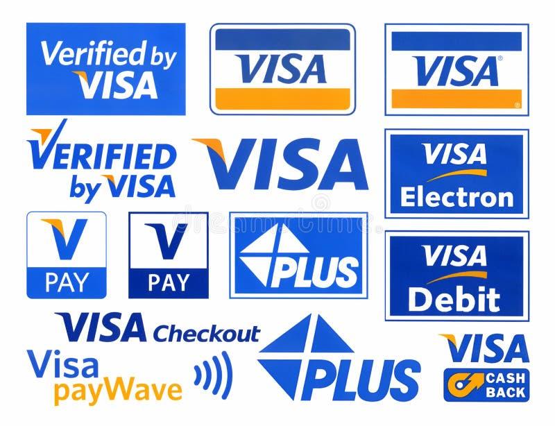 Logotypes differenti del VISTO del sistema di pagamento