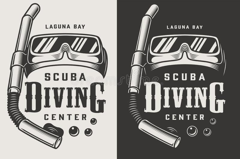 Logotypes do monochrome do centro do mergulho do vintage ilustração stock