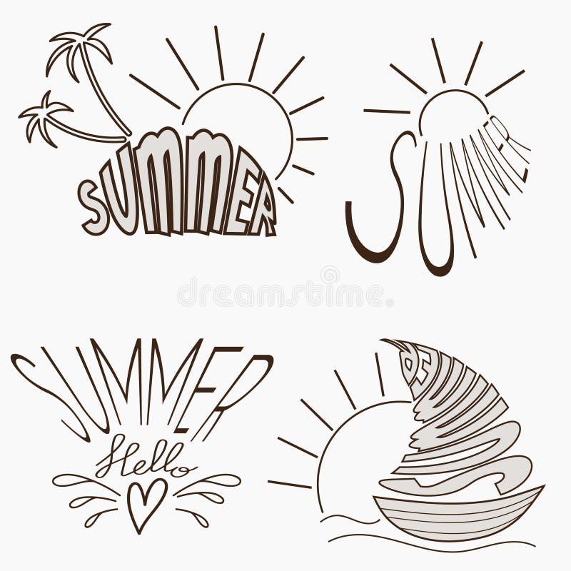 Logotypes do verão ajustados ilustração stock