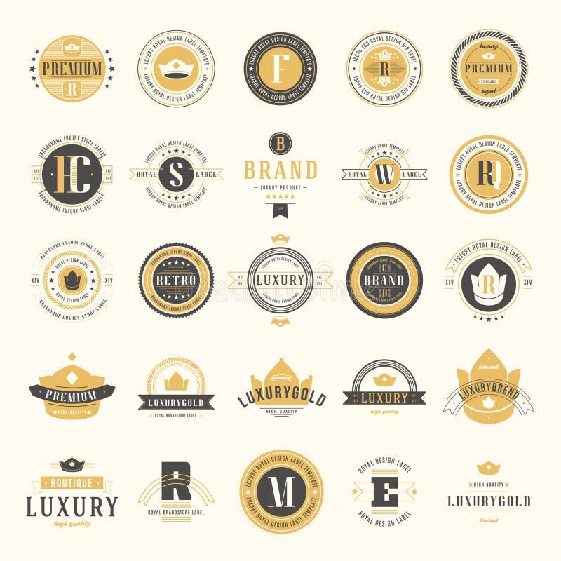 Logotypes retros do vintage ajustados Elementos do projeto do vetor, si do negócio ilustração stock