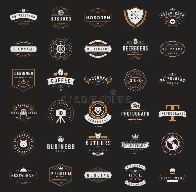 Logotypes retros ou insígnias do vintage ajustados Vetor ilustração do vetor