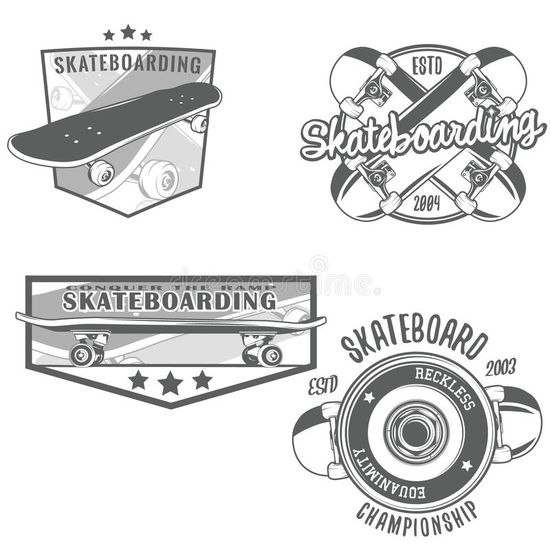 Logotypes Skateboarding do vintage ilustração do vetor