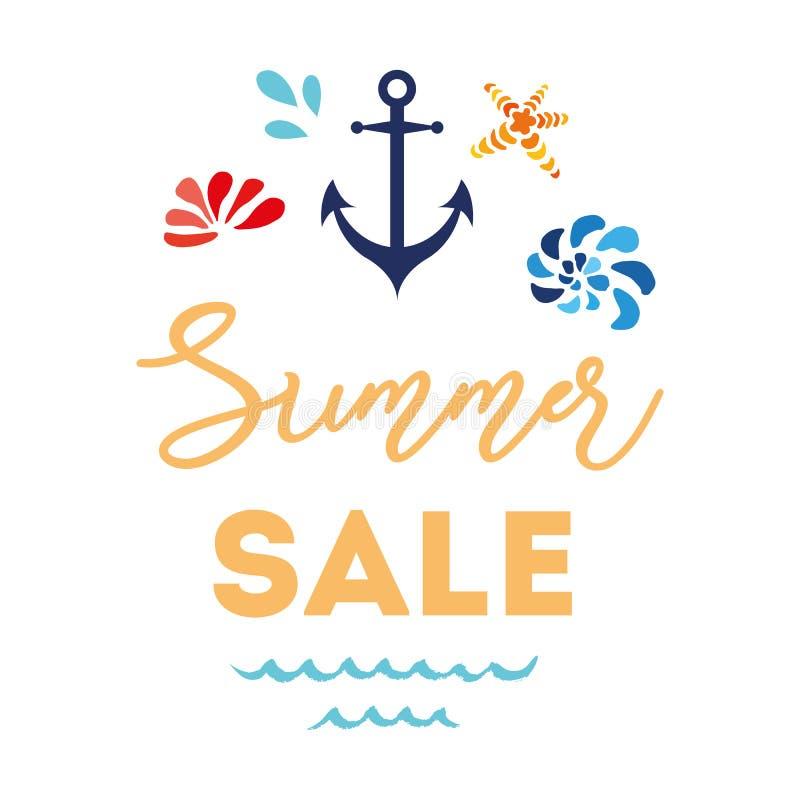Logotypes tirados mão do estilo do mar do verão da loja da bandeira do vetor do crachá do logotipo da compra da venda do verão ilustração stock