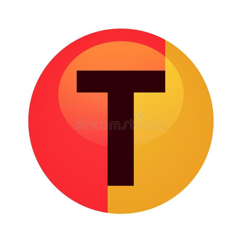 Logotypmall med bokstav T - rund illustration för vektor i den röda och gula apelsinen som isoleras på vit royaltyfri illustrationer