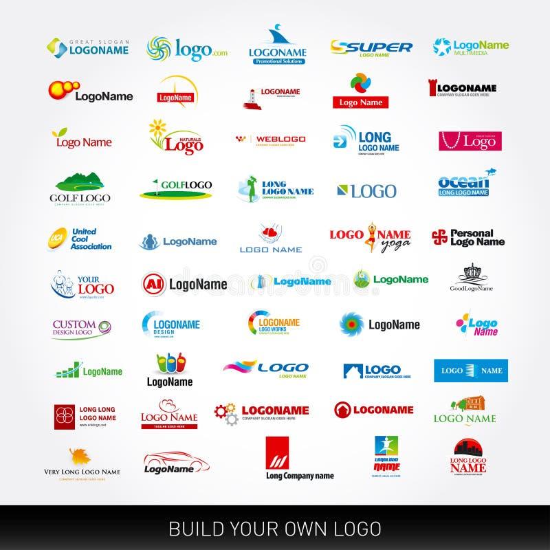 Logotypy ustawiający 50 loga projekta szablonów 50 logotypów na różnorodnych tematach Mega kolekcja ilustracja wektor