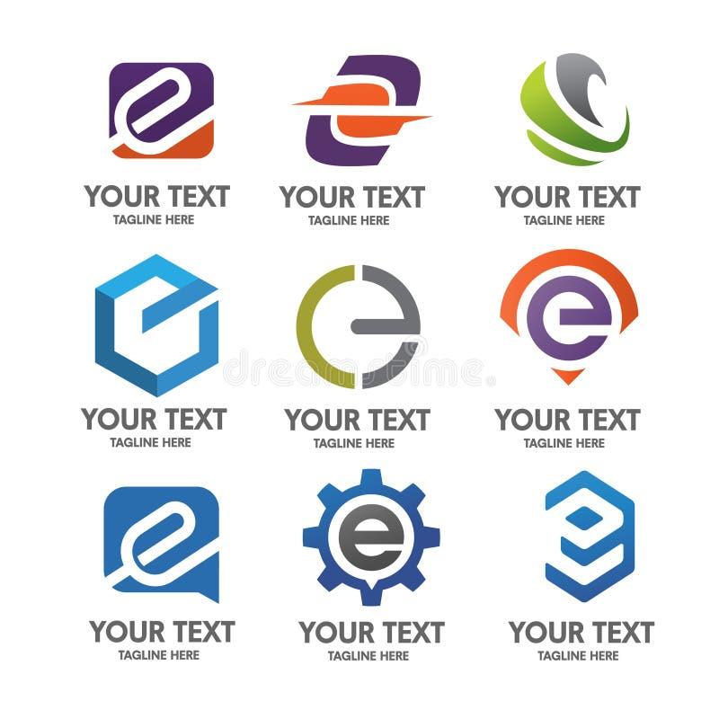 Logouppsättning för bokstav E royaltyfri illustrationer