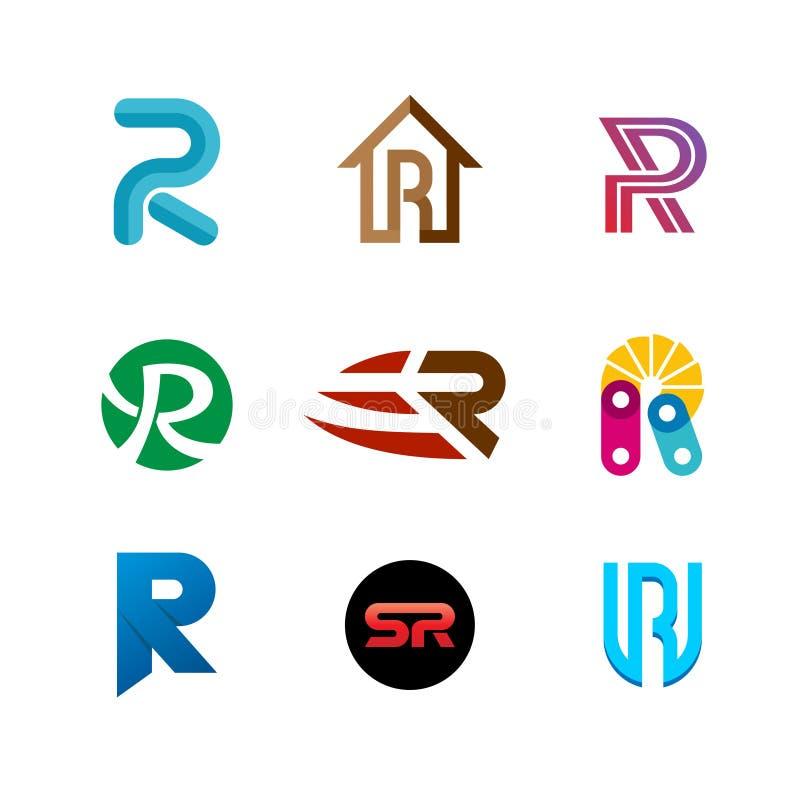 Logouppsättning för bokstav R Design för färgsymbolsmallar royaltyfri illustrationer