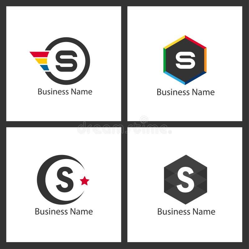 Logouppsättning för bokstav S royaltyfri illustrationer
