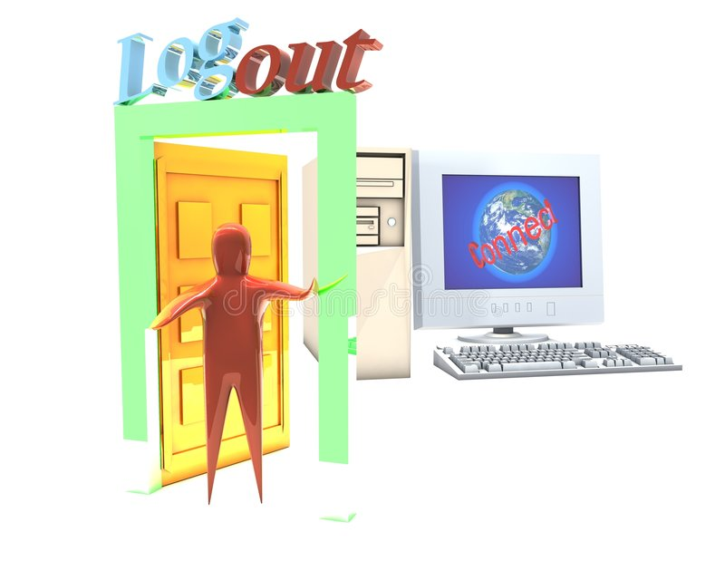 Logout and computer vector illustration