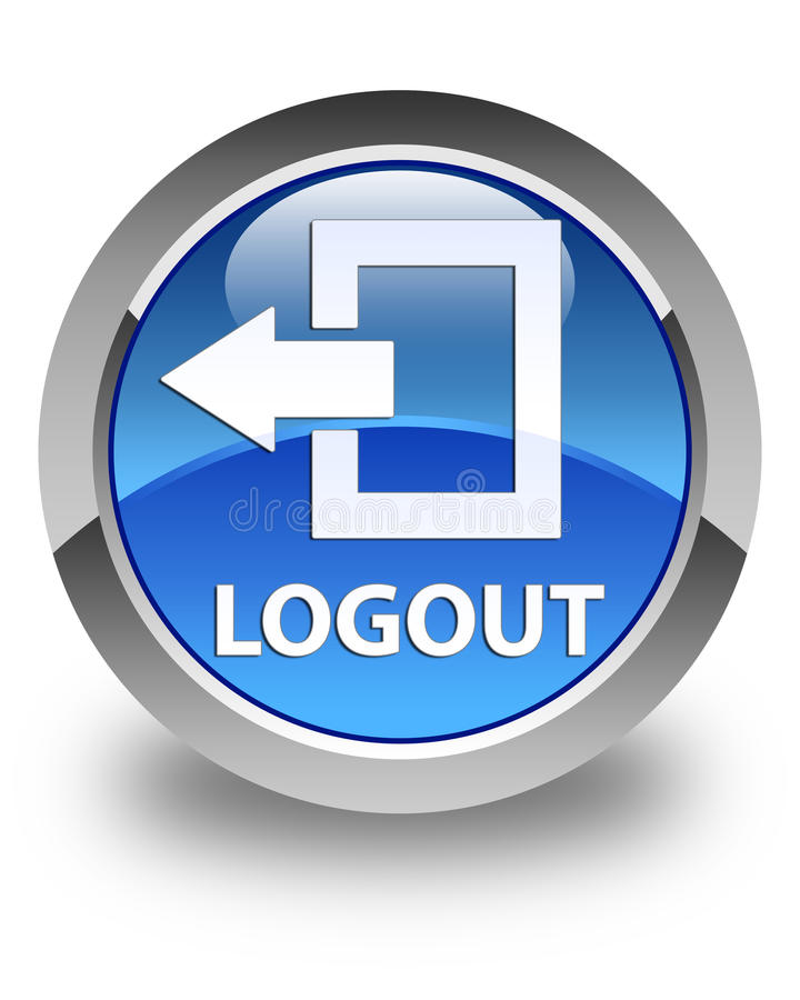 Logout glossy blue round button. Logout isolated on glossy blue round button abstract illustration vector illustration