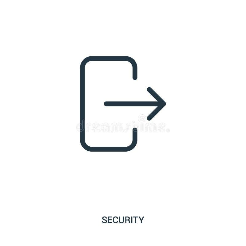 logoutsymbolsvektor från säkerhetssamling Tunn linje illustration för vektor för logoutöversiktssymbol stock illustrationer