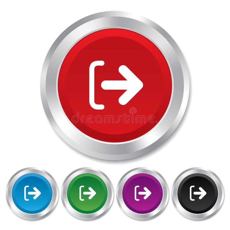 Logoutteckensymbol. Logoutsymbol. Pil. stock illustrationer