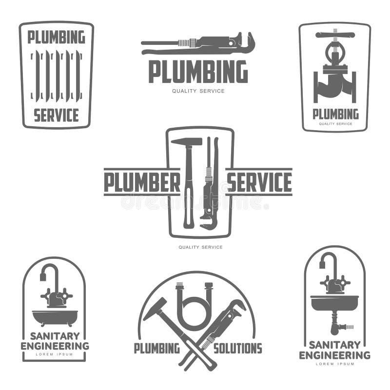 logovatten, gasteknik, rörmokeriservice vektor illustrationer
